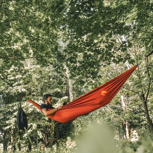Man in hammock reads adventure book